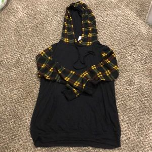 Light Weight Plaid and Black Hoodie